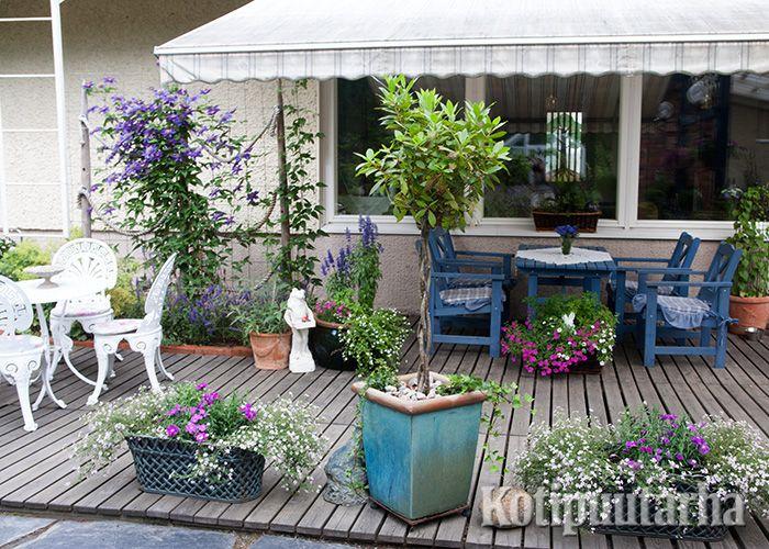 Tällä puutarharomantiikkaa uhkuvalla terassilla voi valita istumapaikan auringosta tai markiisin suojasta. Hempeät kasvivalinnat täydentävät tunnelman.
