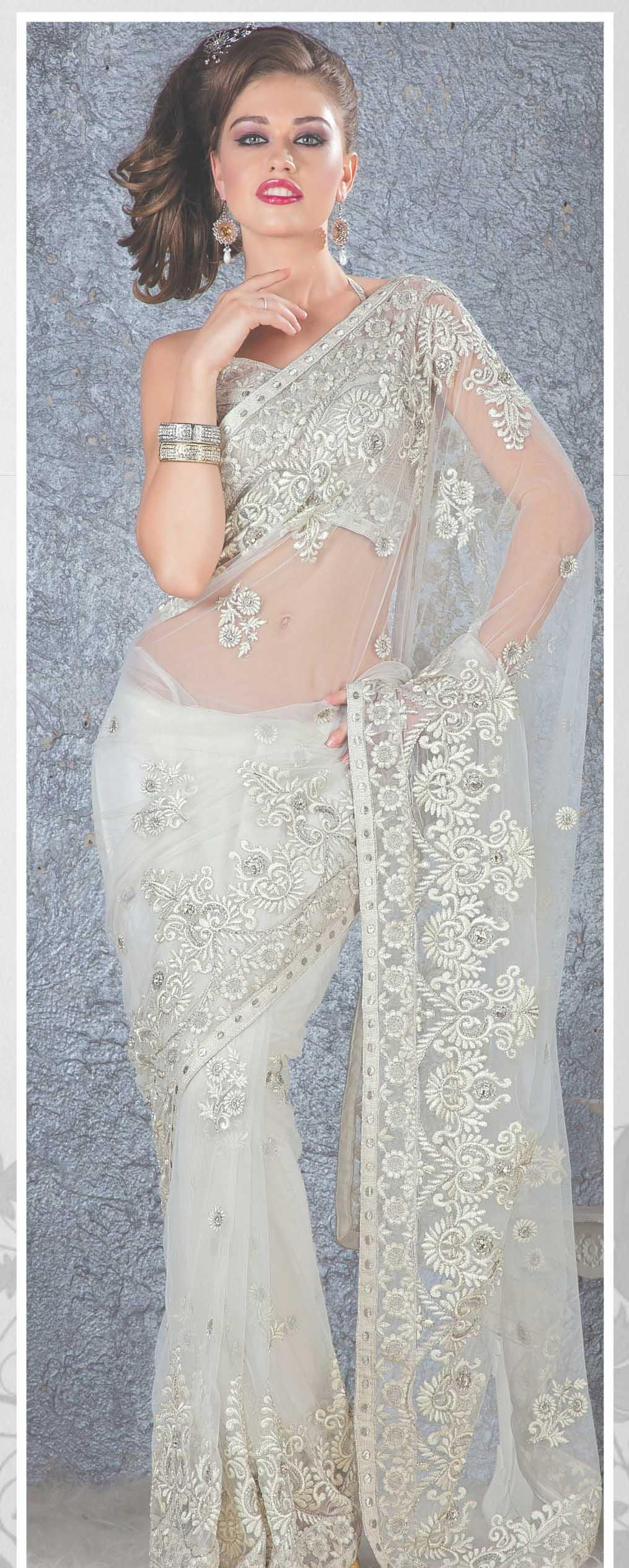 Photo of White Net Saree 19108 With Unstitched Blouse
