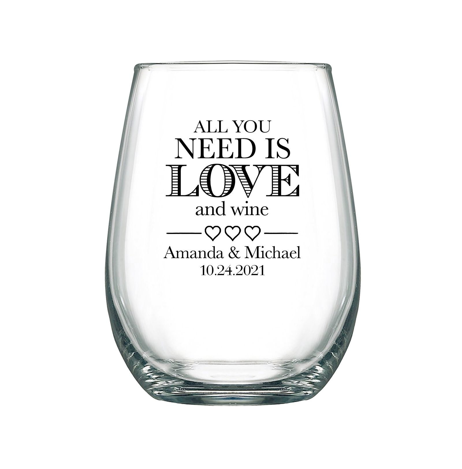 Personalized Stemless Wedding Wine Glasses Chic Wedding Favors For