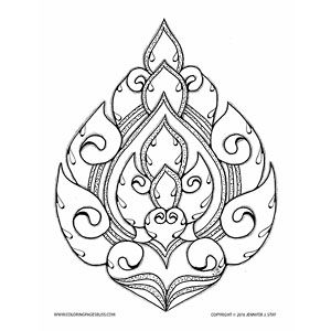 Lai Thai Lotus Coloring Page For Adults This Is A Hand Drawn Work Of Art