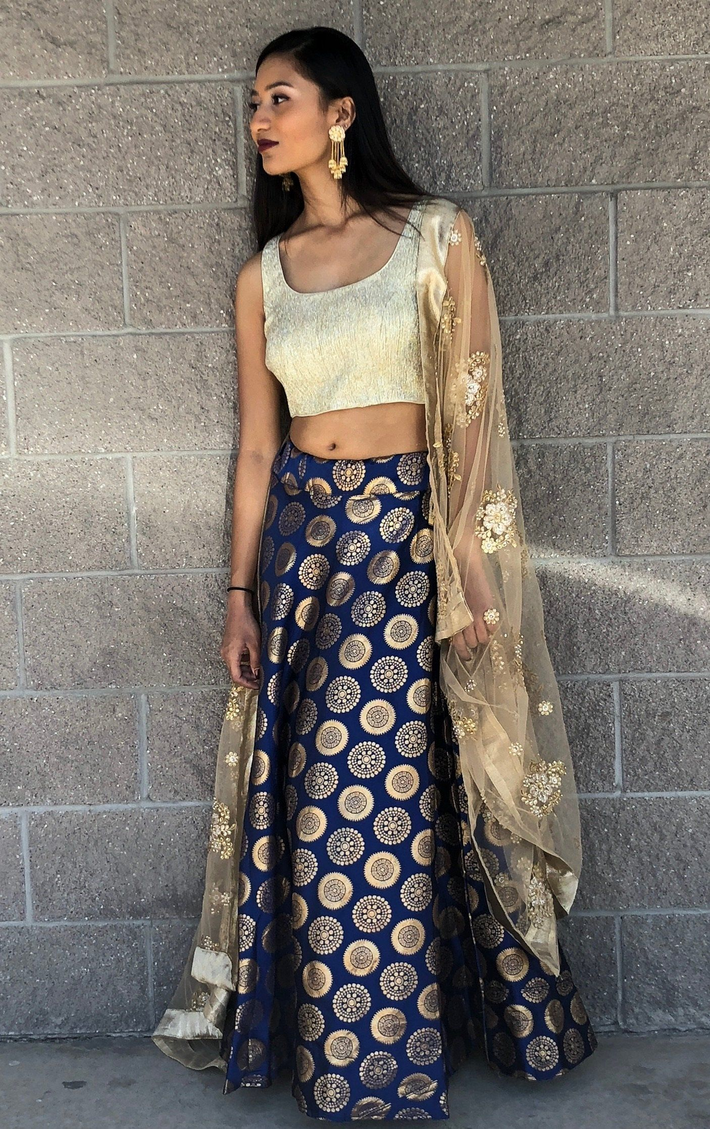 many styles clear-cut texture buy popular Banarasi skirt- blue | Nethra❤️ in 2019 | Skirts, Indian ...