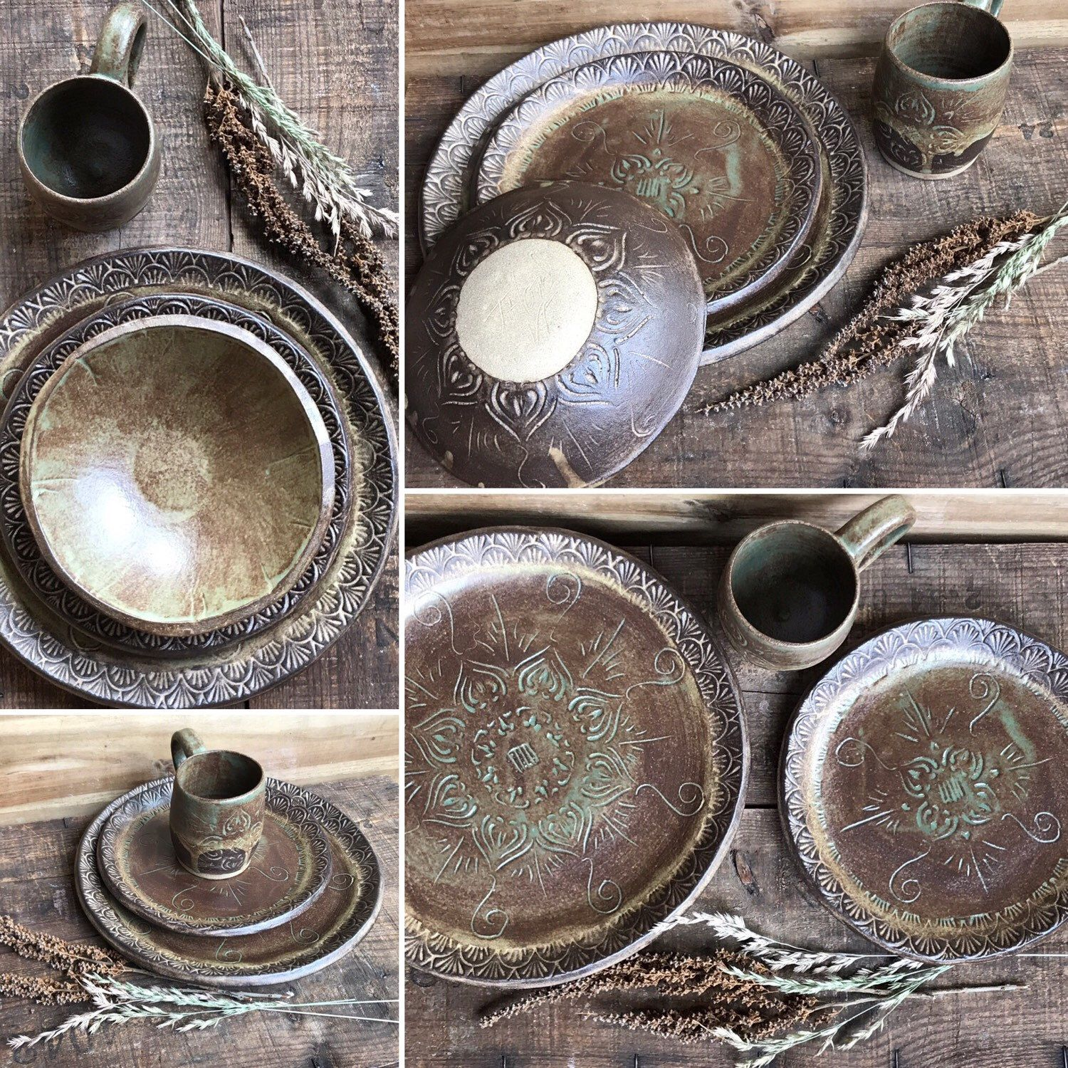 Rustic Dinnerware Plate and Soup Bowl Set ~ Hand Stenciled Mandala ~ Handmade Vermont Pottery ~ Made in USA & Rustic Dinnerware Plate and Soup Bowl Set ~ Hand Stenciled Mandala ...