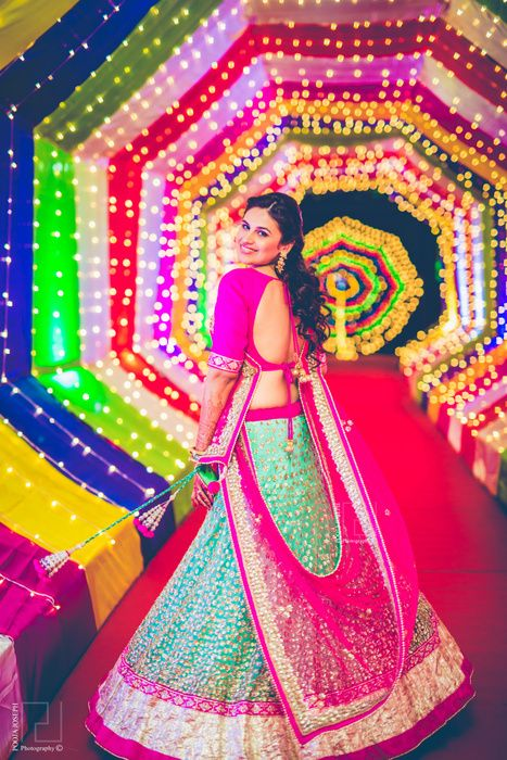 light blue and pink lehenga with silver sequin embroidery | Color ...