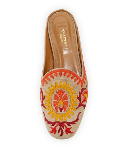 Brando Embroidered Suede Mule Flat