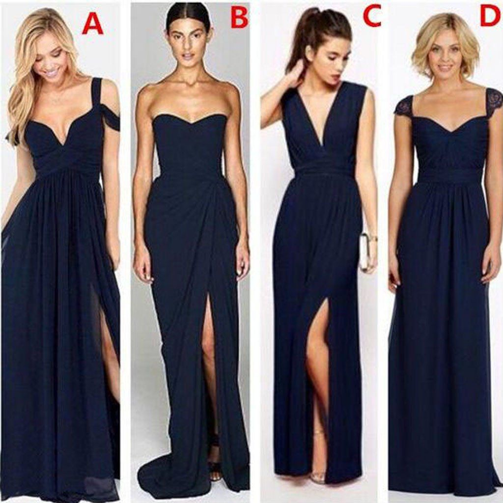 Most Popular Mismatched Sexy Chiffon Navy Blue Formal Cheap Bridesmaid  Dresses d6d72ff5c141