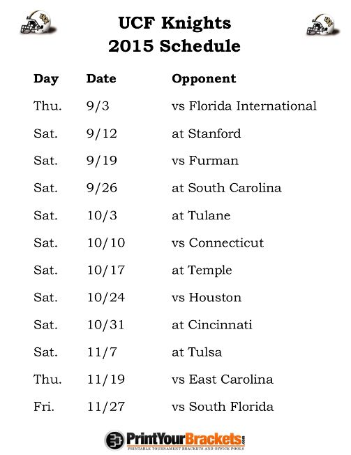 Printable Ucf Knights Football Schedule 2015 Yes I M A Knight