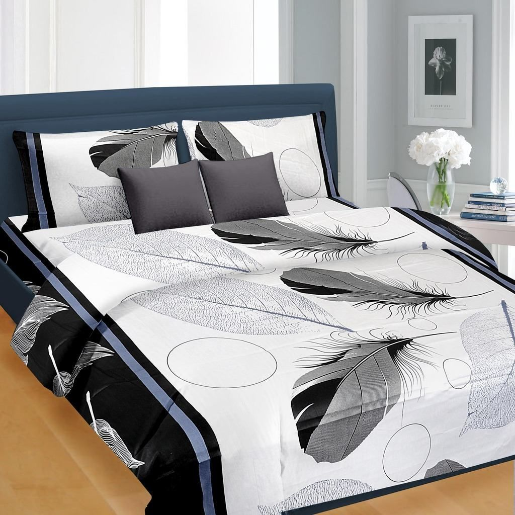 Black Feather Pattern Double Bed Sheet - king size double bed ...