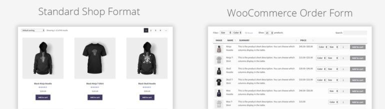 WooCommerce product order form layout WooCommerce Product Tables