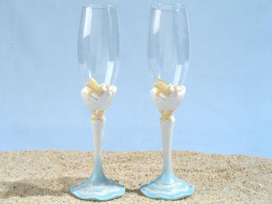 Starfish Inspired Beach Themed Toasting Glasses Set