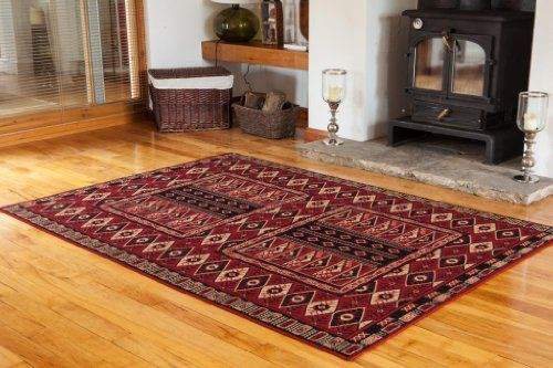 Dark Red Classic Vintage Living Room Rug - 4 Sizes Available