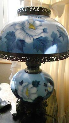 Amazing Vintage Hand Painted Blue Yellow Gone With The Wind Hurricane Parlor Table  Lampu2026