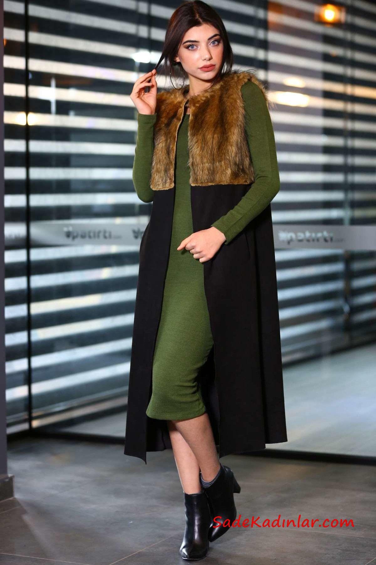 2019 Uzun Yelek Kombinleri Yesil Midi Triko Elbise Siyah Yakasi Kurklu Yelek Siyah Topuklu Bot Elbise Triko Moda Stilleri