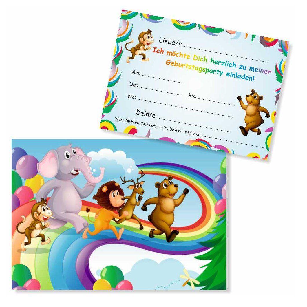 8 einladungskarten lustige tiere | einladungskarten