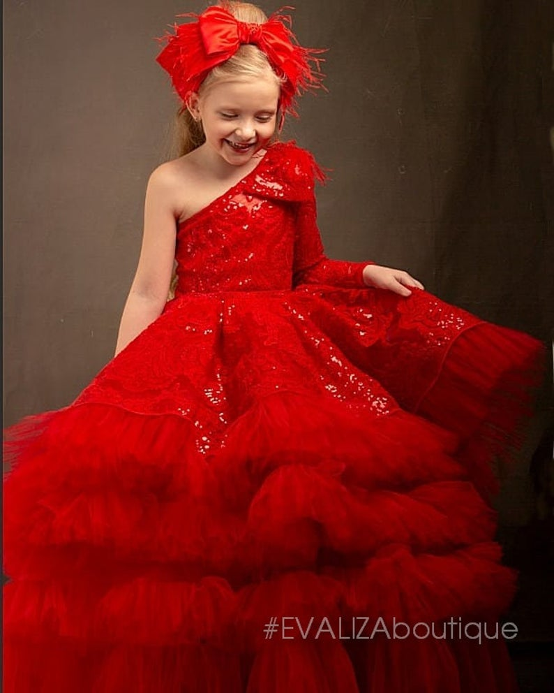 Designer Red Dress Sequin Lace Girls Pageant Dress High Low Etsy Little Girl Pageant Dresses Red Sequin Dress Red Dress Design [ 992 x 794 Pixel ]