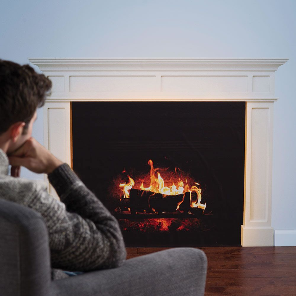 The faux fireplace decal hammacher schlemmer for the home