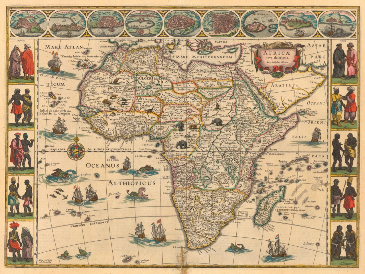 One of the most decorative and popular of all early maps of Africa