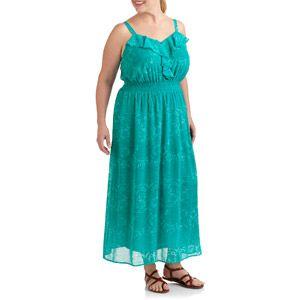 Faded Glory Women S Plus Size Woven Ruffle Maxi Dress