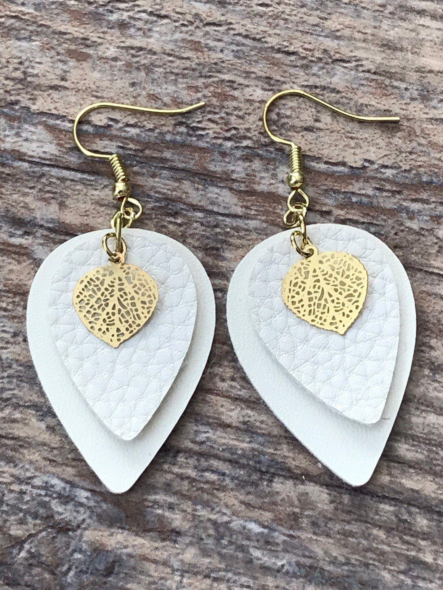 Photo of Faux leather earring, Faux leather teardrop earrings, White faux leather earrings with metal leaf charm, Dangle earrings