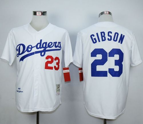 Mitchell and Ness Dodgers  23 Kirk Gibson White Throwback MLB Jersey ... c9bd0e1a97a