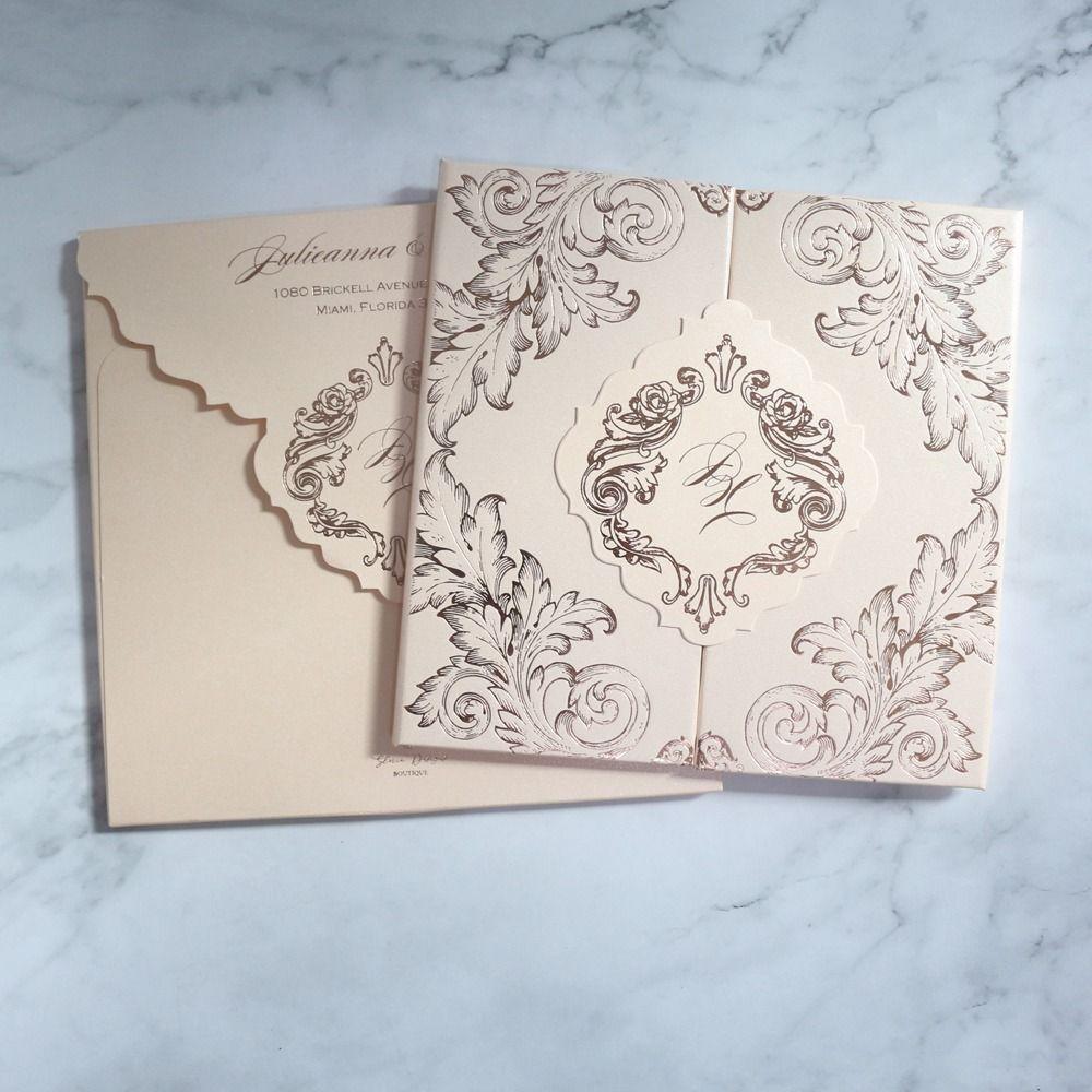 Luxury Blush Elegant Hard Cover Gatefold Doc Wedding Invitation