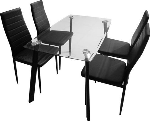 buy abbey dining set clear glass table with 4 black. Black Bedroom Furniture Sets. Home Design Ideas