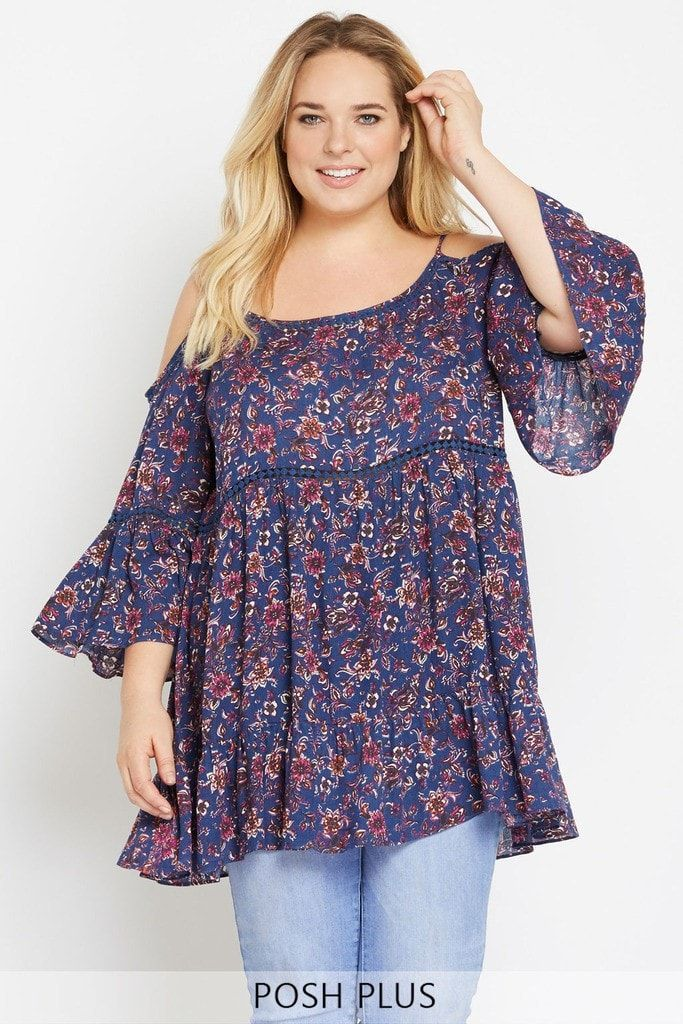 Bohemian Dreamin' Open Shoulder Top Plus Size