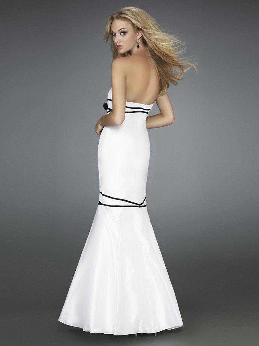 Elegant floor length white silky satin mermaid style bow