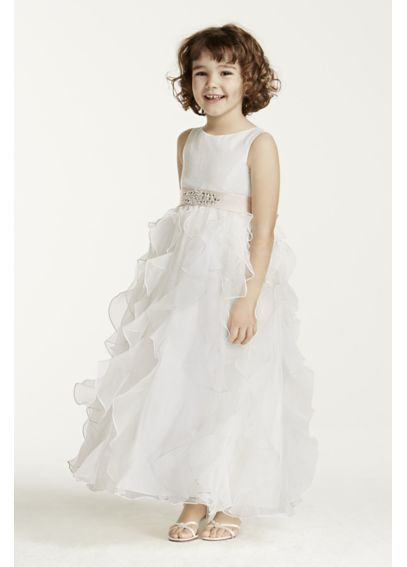Organza Flower Girl Dress with Ruffled Skirt H1281 | Flower Girl ...