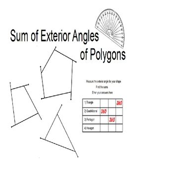 This Hands On Activity Has Student Find The Sum Of The Measures Of The Exterior Angles Of
