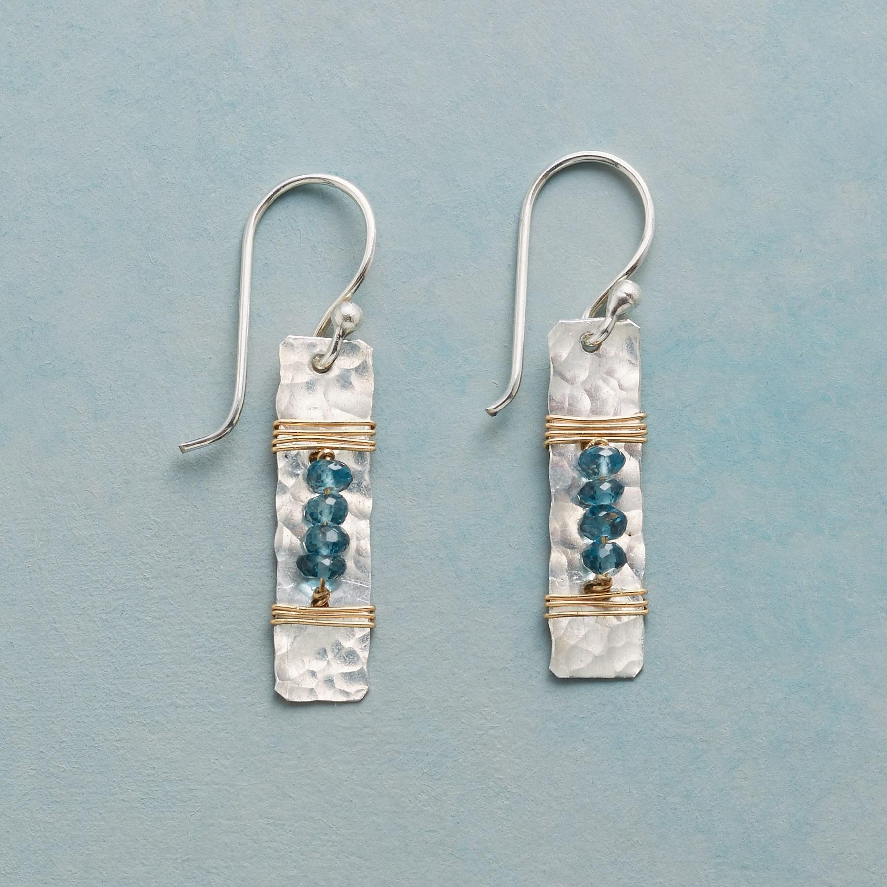 THE BEADS BETWEEN EARRINGS -- London blue topaz align between coils ...