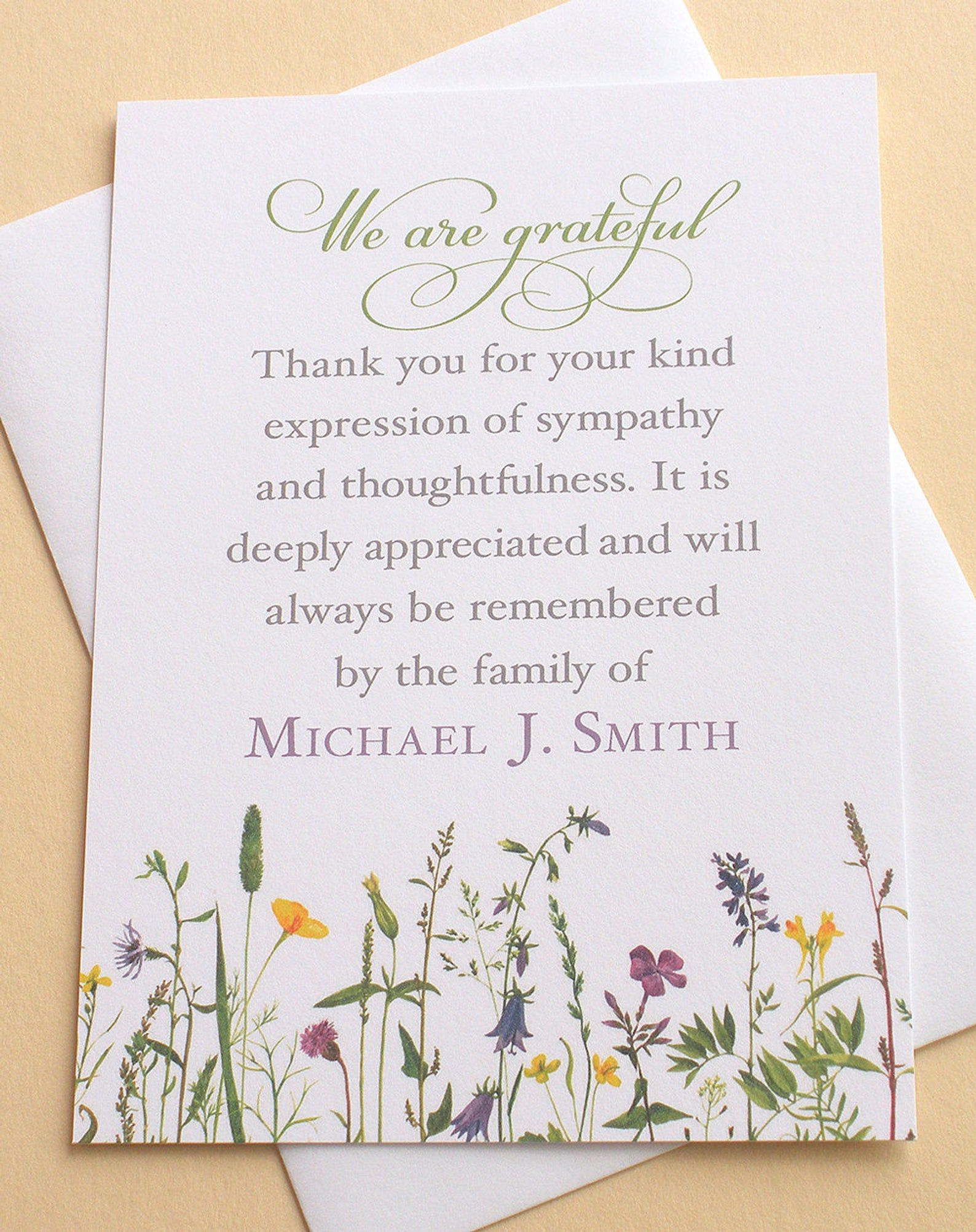 Sympathy Thank You Cards With Pretty Wild Flowers Etsy