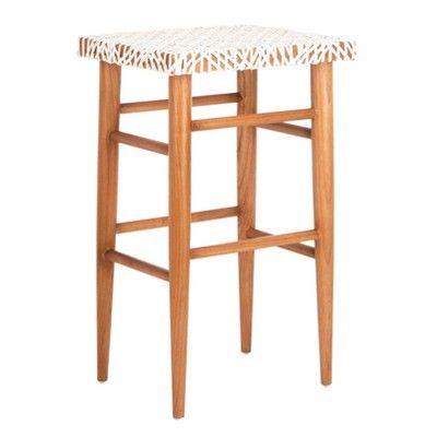 Superb Kaleo Woven Leather Barstool White Safavieh In 2019 Lamtechconsult Wood Chair Design Ideas Lamtechconsultcom