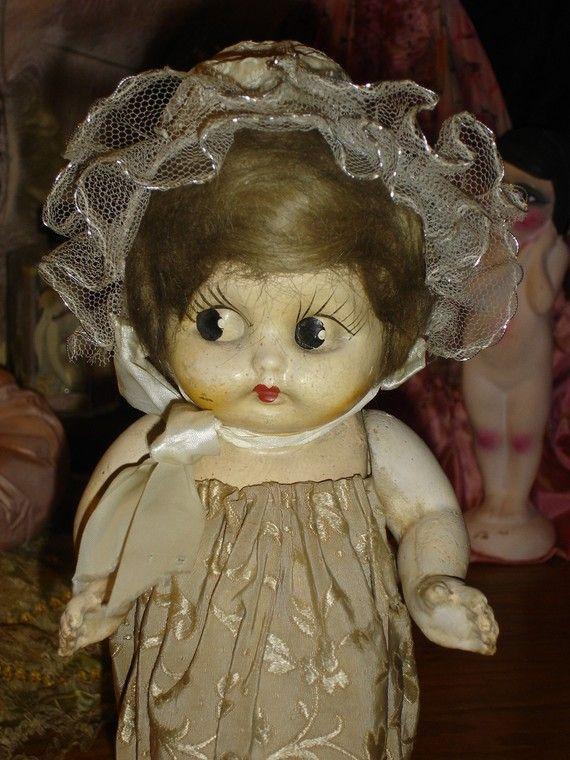 Rare Sweet Composition Flapper Carnival Kewpie Doll Lamp