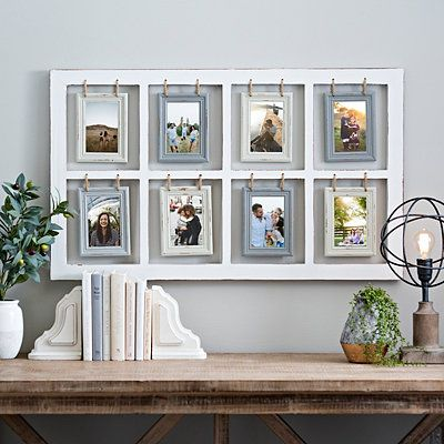 Our Hanging Rope Windowpane Collage Frame will help you create a gorgeous personalized display! Its neutral finishes and natural rope provide rustic flair.            Frame measures 41.5L x 1.25W x 23.75H in.          Crafted of wood and rope          Distressed white frame finish          Cream and gray individual frame finishes          Windowpane design design          Features eight (8) hanging frames; each frame holds one (1) 4x6 photo          Frames hang from natural rope          Comes r