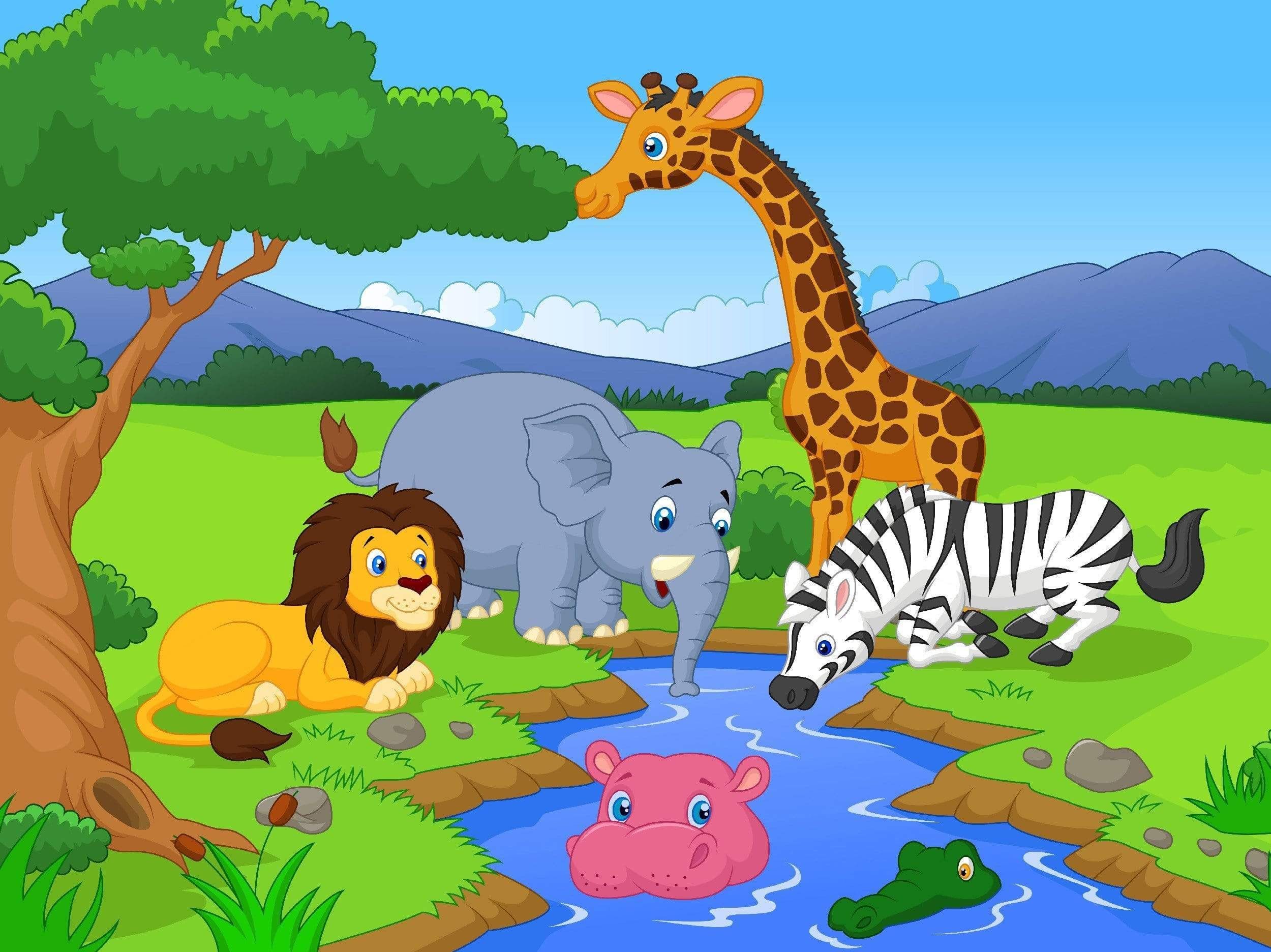 Animals At Watering Hole In 2021 Cartoon Animals Cartoon Pics Cartoon