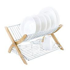 image of Umbra® Stack Dish Rack in Bamboo/Nickel