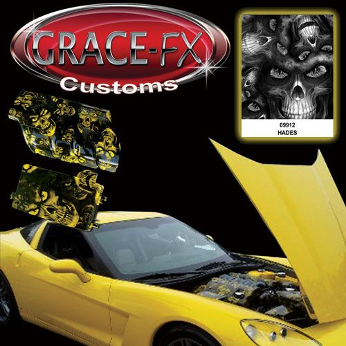 Corvette engine parts dipped with Hades over classic yellow. From Grace-FX.com