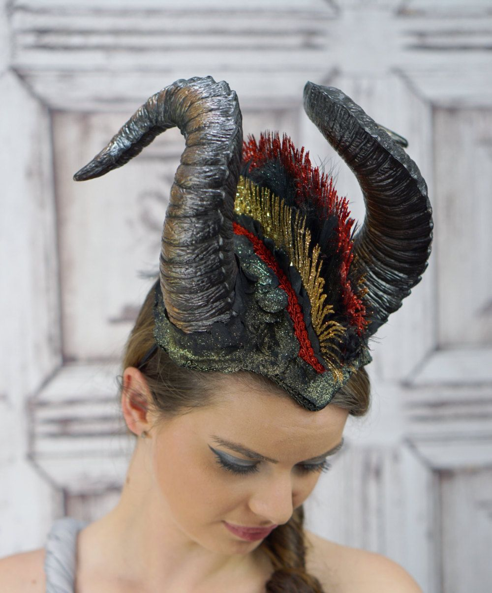 """Demon Horn Headband Gold Dragon Horns Lightweight 5/"""" cosplay costume headdress"""