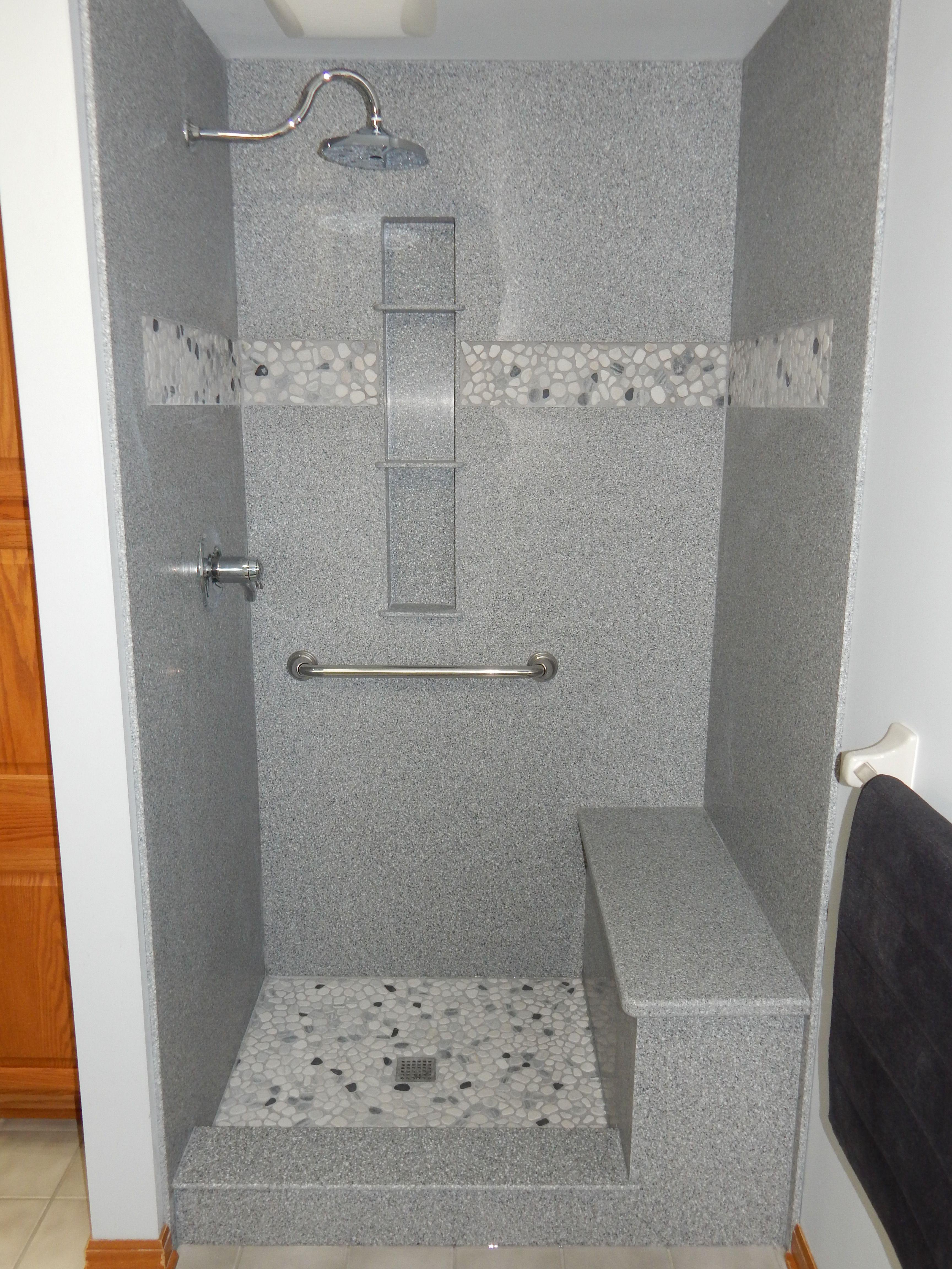 Custom Corian Shower With Pebble Floor And Inset Is Shown Here Before We Installed The Show Corian Shower Walls Waterproof Bathroom Wall Panels Diy Shower Door