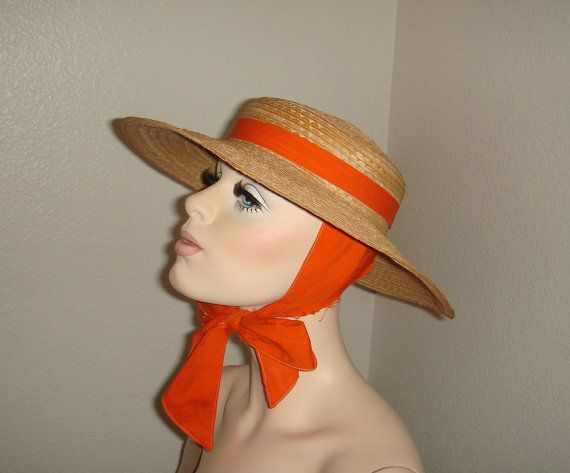 994e45f9a4337 Vintage 1960s Wide Brim Straw Sun Hat with by snapitupvintage