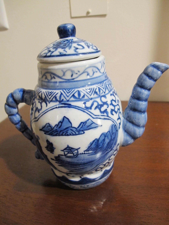 Teapot Chinese Mini Vintage Blue Porcelain Oriental Japanese Asian Tea Ceremony Doll Asian Tea Tea Pots Tea Ceremony