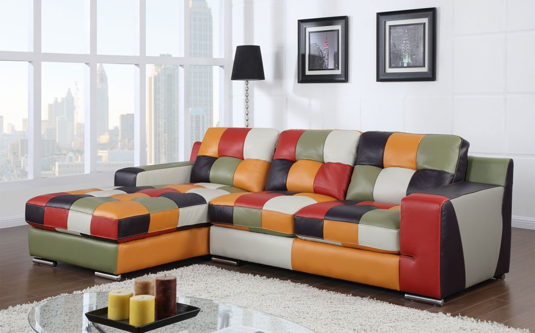 Too Many Colors Multicolored Modern Sectional Gl36 Leather
