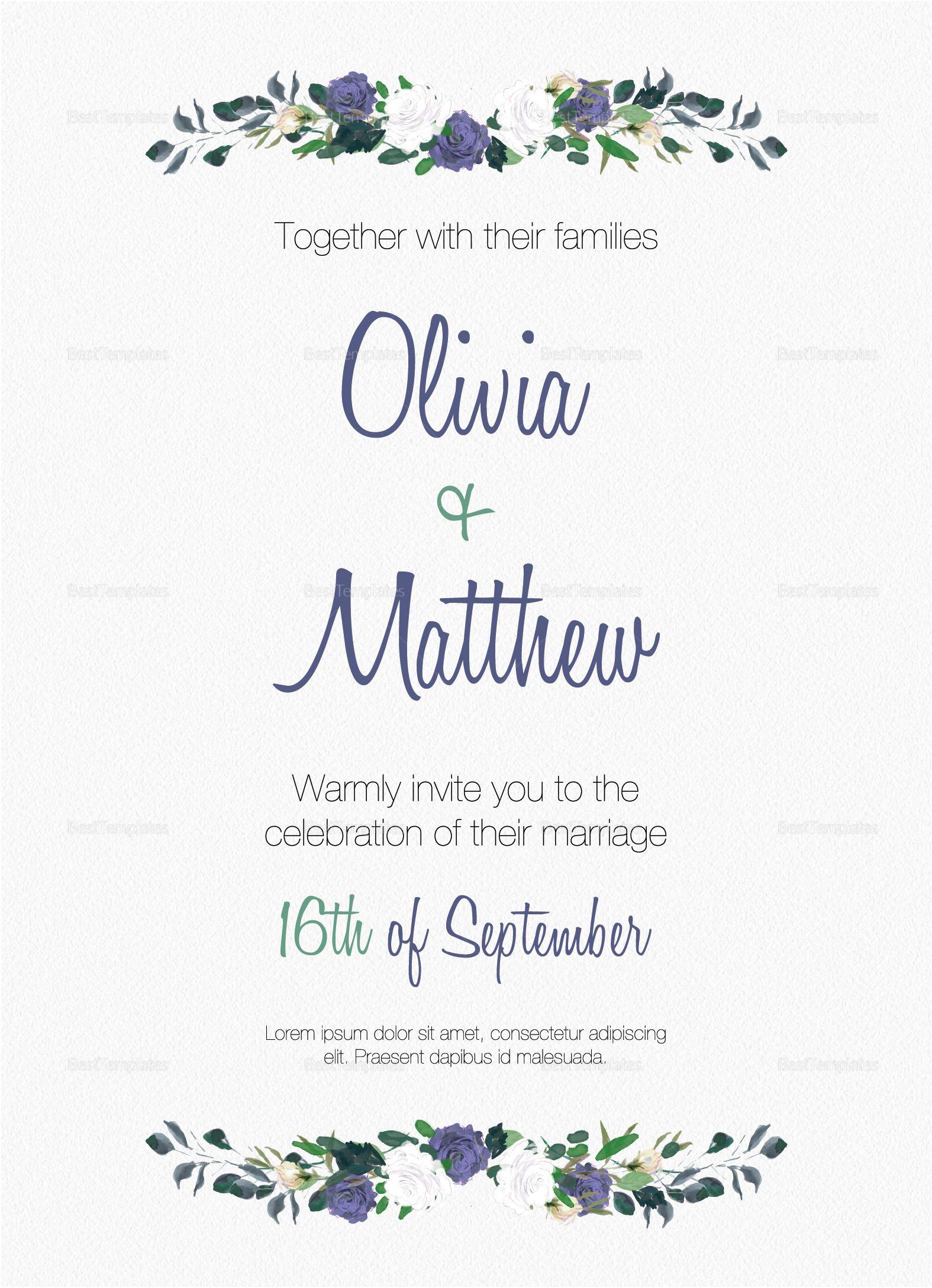 traditional wedding invitation template  wedding