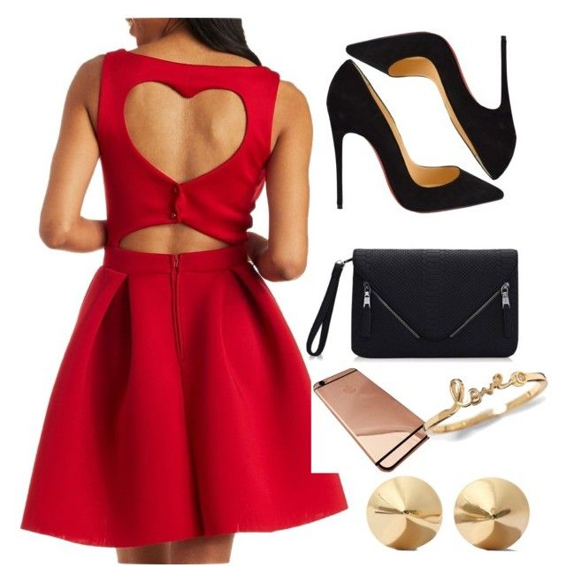 """Valentines dance"" by tenchita-japonesa on Polyvore featuring Charlotte Russe, Christian Louboutin, Eddie Borgo, women's clothing, women, female, woman, misses and juniors"