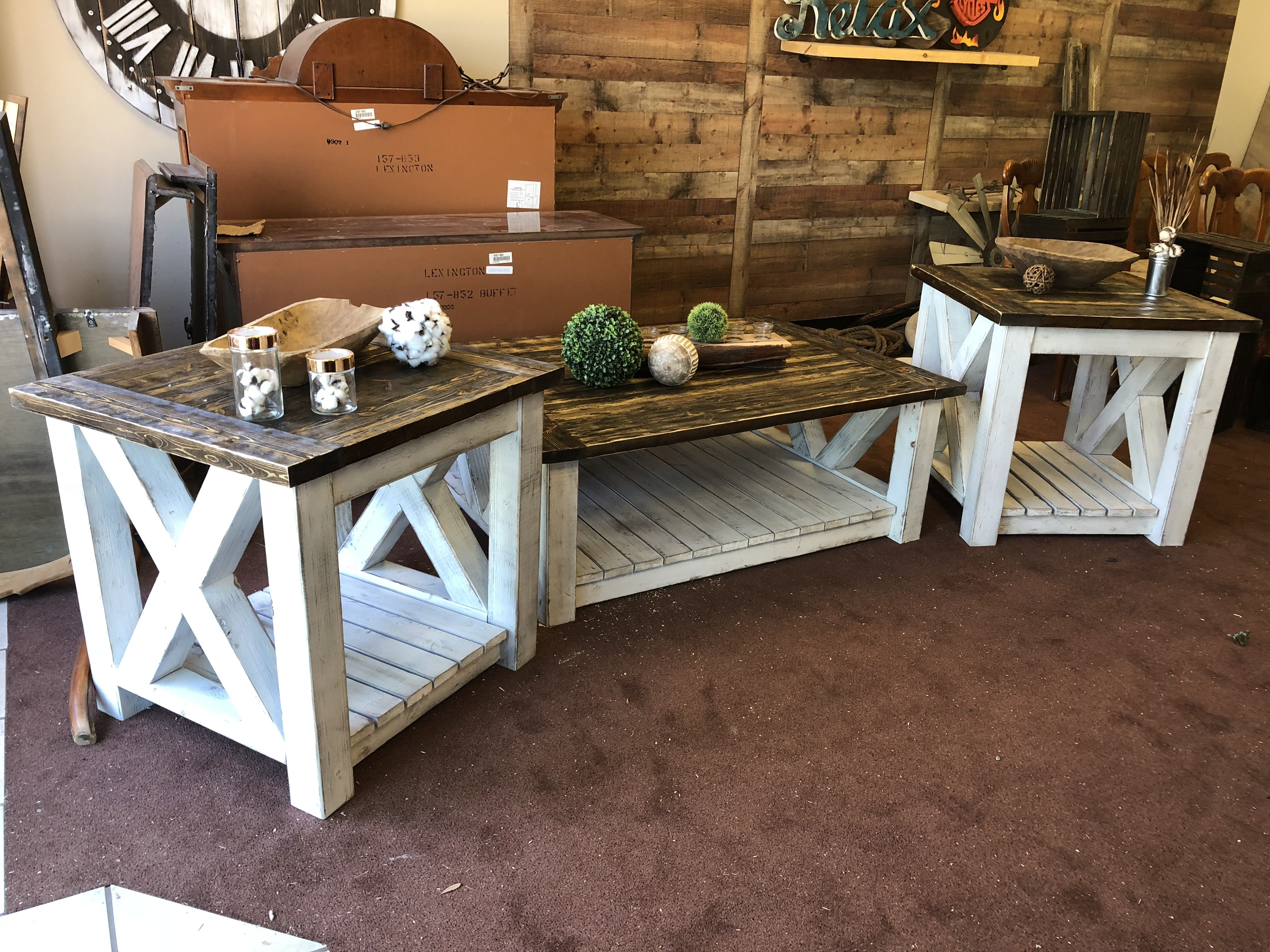 Rustic Distressed Farmhouse End Table For Sofa Farmhouse Living