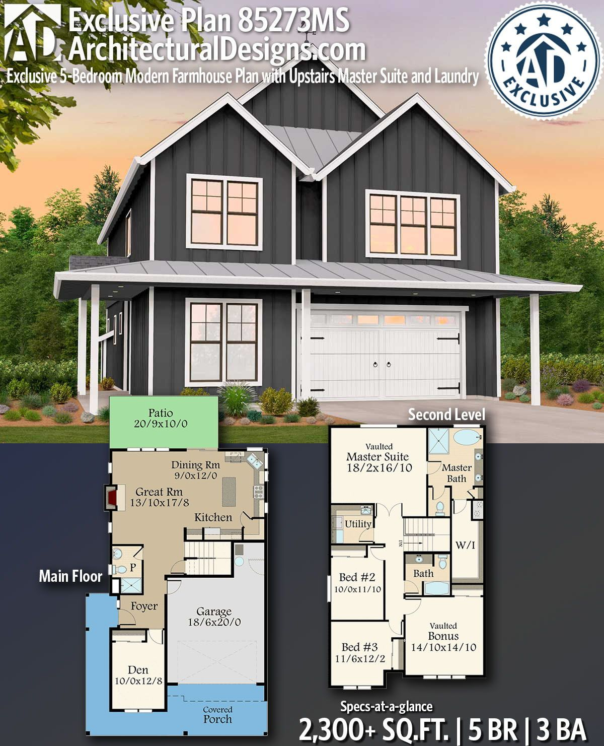 Plan 85273ms Exclusive 5 Bedroom Modern Farmhouse Plan With Upstairs Master Suite And Laundry Modern Farmhouse Plans Farmhouse Plans House Plans
