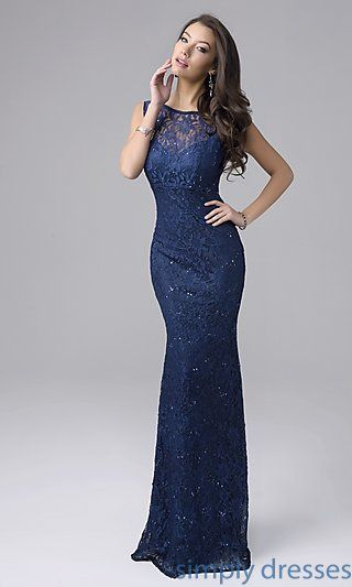 NC-7237 - Long Sleeveless Sequined Lace Formal Gown | Dress formal ...