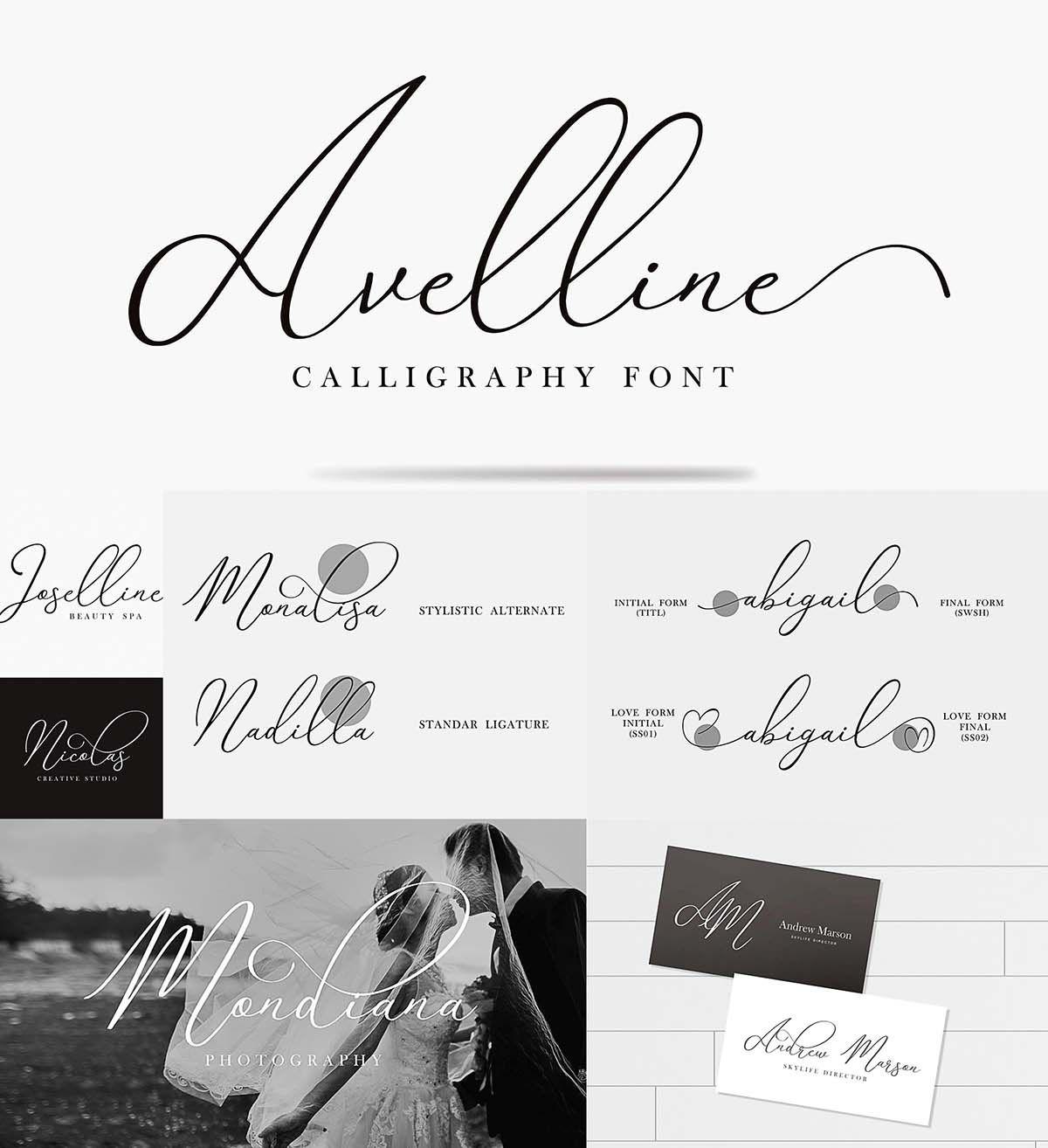 Avelline modern calligraphy Modern calligraphy, Wedding