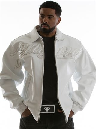 pelle pelle script logo with puff fill stretched across the front ...