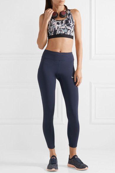 Nike Power Epic Lux Mesh-paneled Dri-fit Stretch Leggings - Navy ... 28514511c74